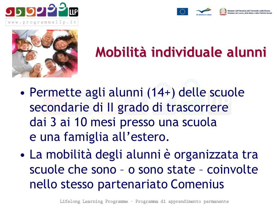 Mobilità individuale alunni Permette agli alunni (14+) delle scuole secondarie di II grado di trascorrere dai 3 ai 10 mesi presso una scuola e una famiglia allestero.