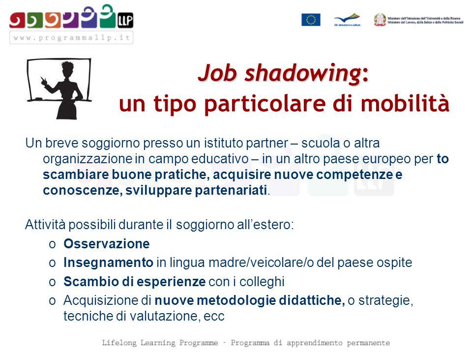 Job shadowing: Job shadowing: un tipo particolare di mobilità Un breve soggiorno presso un istituto partner – scuola o altra organizzazione in campo educativo – in un altro paese europeo per to scambiare buone pratiche, acquisire nuove competenze e conoscenze, sviluppare partenariati.