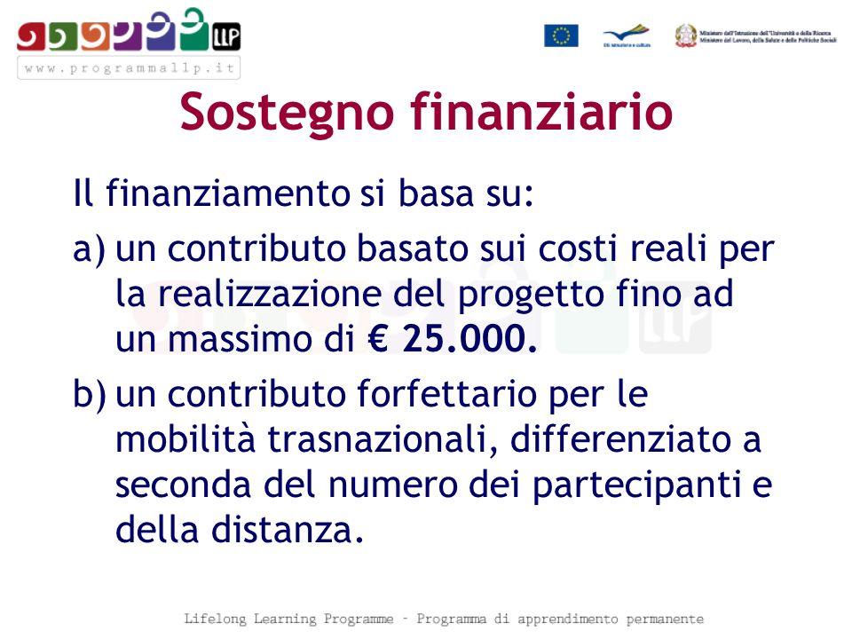 Sostegno finanziario Il finanziamento si basa su: a)un contributo basato sui costi reali per la realizzazione del progetto fino ad un massimo di 25.000.