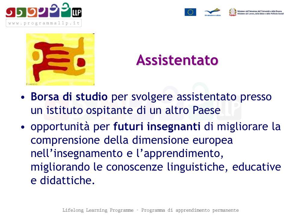 Borsa di studio per svolgere assistentato presso un istituto ospitante di un altro Paese opportunità per futuri insegnanti di migliorare la comprensione della dimensione europea nellinsegnamento e lapprendimento, migliorando le conoscenze linguistiche, educative e didattiche.
