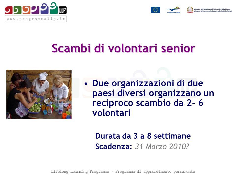 Scambi di volontari senior Due organizzazioni di due paesi diversi organizzano un reciproco scambio da 2- 6 volontari Durata da 3 a 8 settimane Scadenza: 31 Marzo 2010