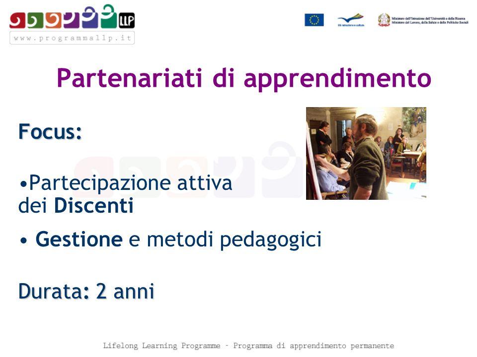 Partenariati di apprendimento Focus: Partecipazione attiva dei Discenti Gestione e metodi pedagogici Durata: 2 anni