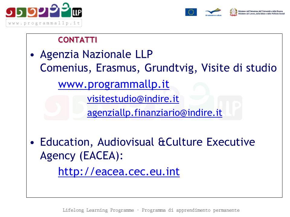 CONTATTI Agenzia Nazionale LLP Comenius, Erasmus, Grundtvig, Visite di studio www.programmallp.it visitestudio@indire.it agenziallp.finanziario@indire.it Education, Audiovisual &Culture Executive Agency (EACEA): http://eacea.cec.eu.int