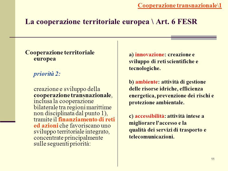 11 La cooperazione territoriale europea \ Art. 6 FESR Cooperazione territoriale europea priorità 2: creazione e sviluppo della cooperazione transnazio