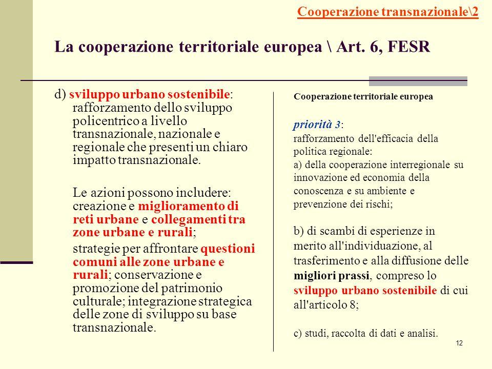 12 La cooperazione territoriale europea \ Art. 6, FESR d) sviluppo urbano sostenibile: rafforzamento dello sviluppo policentrico a livello transnazion