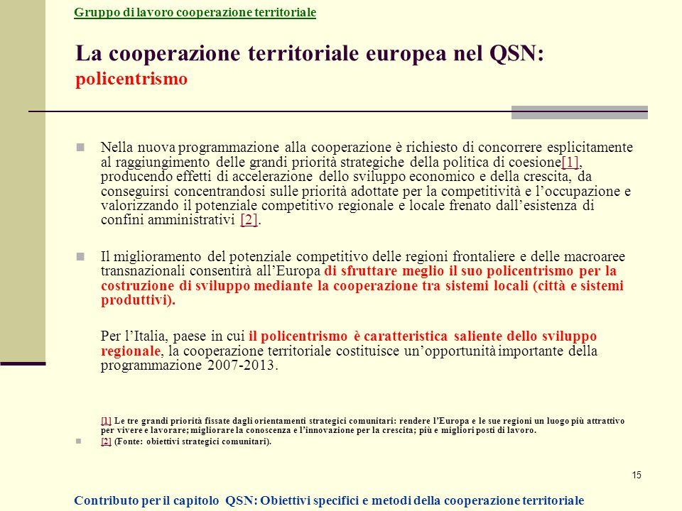 15 La cooperazione territoriale europea nel QSN: policentrismo Nella nuova programmazione alla cooperazione è richiesto di concorrere esplicitamente a