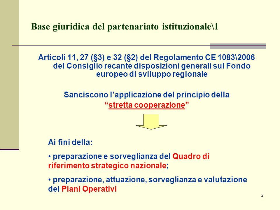 2 Base giuridica del partenariato istituzionale\1 Articoli 11, 27 (§3) e 32 (§2) del Regolamento CE 1083\2006 del Consiglio recante disposizioni gener