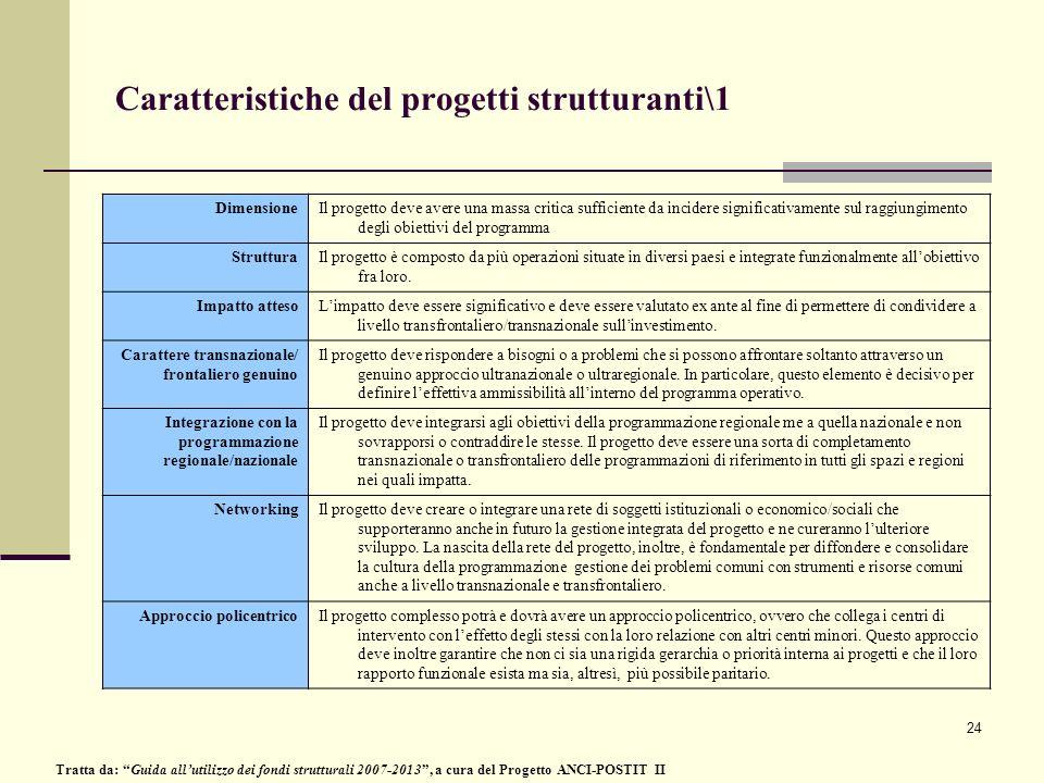24 Caratteristiche del progetti strutturanti\1 DimensioneIl progetto deve avere una massa critica sufficiente da incidere significativamente sul raggi