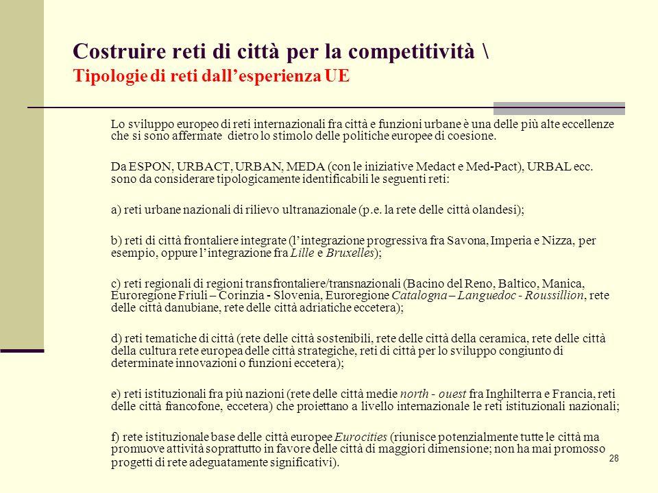 28 Costruire reti di città per la competitività \ Tipologie di reti dallesperienza UE Lo sviluppo europeo di reti internazionali fra città e funzioni