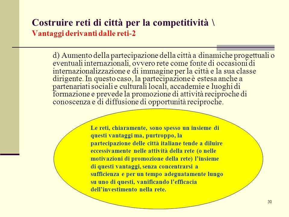 30 Costruire reti di città per la competitività \ Vantaggi derivanti dalle reti-2 d) Aumento della partecipazione della città a dinamiche progettuali