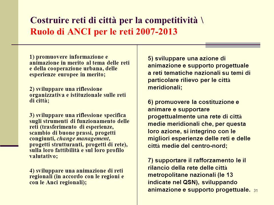 31 Costruire reti di città per la competitività \ Ruolo di ANCI per le reti 2007-2013 1) promuovere informazione e animazione in merito al tema delle