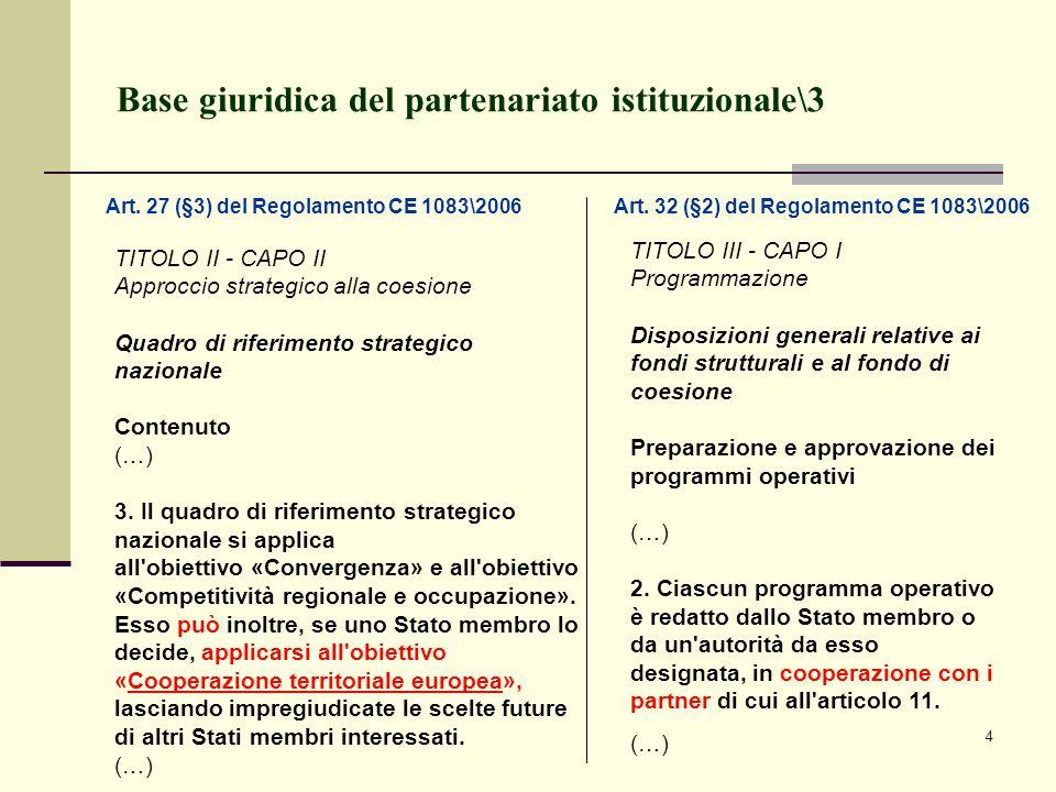 4 Base giuridica del partenariato istituzionale\3 TITOLO II - CAPO II Approccio strategico alla coesione Quadro di riferimento strategico nazionale Co