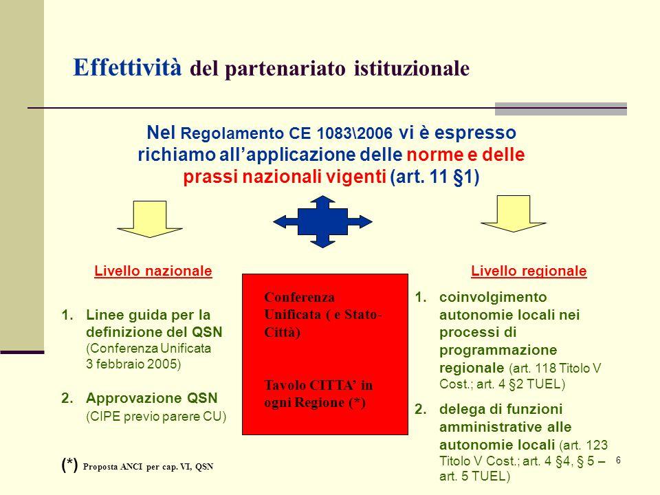 7 Le nuove opportunità per i Comuni\1 A) CIRCA LA PROGRAMMAZIONE 1.unica politica di coesione, comunitaria e nazionale, attraverso il QSN e il DSR con una ventilazione finanziaria settennale (certezza della programmazione) 2.rafforzamento del partenariato istituzionale (principio di effettività) 3.focalizzazione sullo SVILUPPO URBANO (policentrismo sostanziale) B) CIRCA LA GESTIONE DEI PROGRAMMI 1.Possibilità della DELEGA di funzioni gestionali di una parte del PO tramite gli istituti (decentramento amministrativo): ORGANISMO INTERMEDIO SOTTODELEGA alle AUTORITA URBANE SOVVENZIONE GLOBALE I 4 pilastri