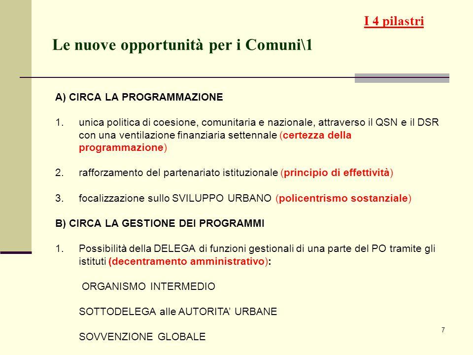 7 Le nuove opportunità per i Comuni\1 A) CIRCA LA PROGRAMMAZIONE 1.unica politica di coesione, comunitaria e nazionale, attraverso il QSN e il DSR con