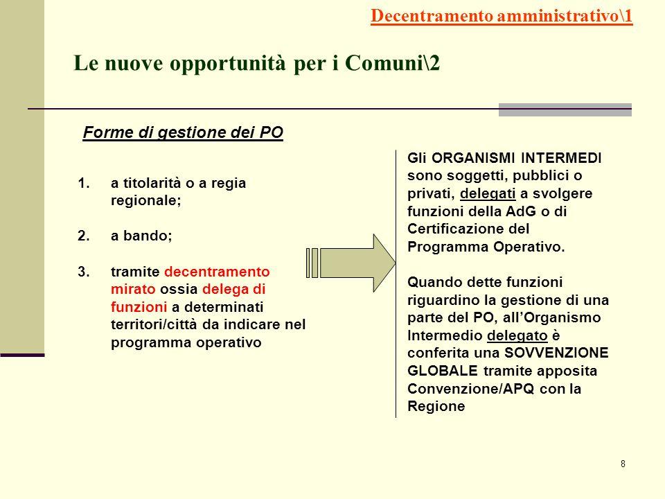8 Le nuove opportunità per i Comuni\2 1.a titolarità o a regia regionale; 2.a bando; 3.tramite decentramento mirato ossia delega di funzioni a determi
