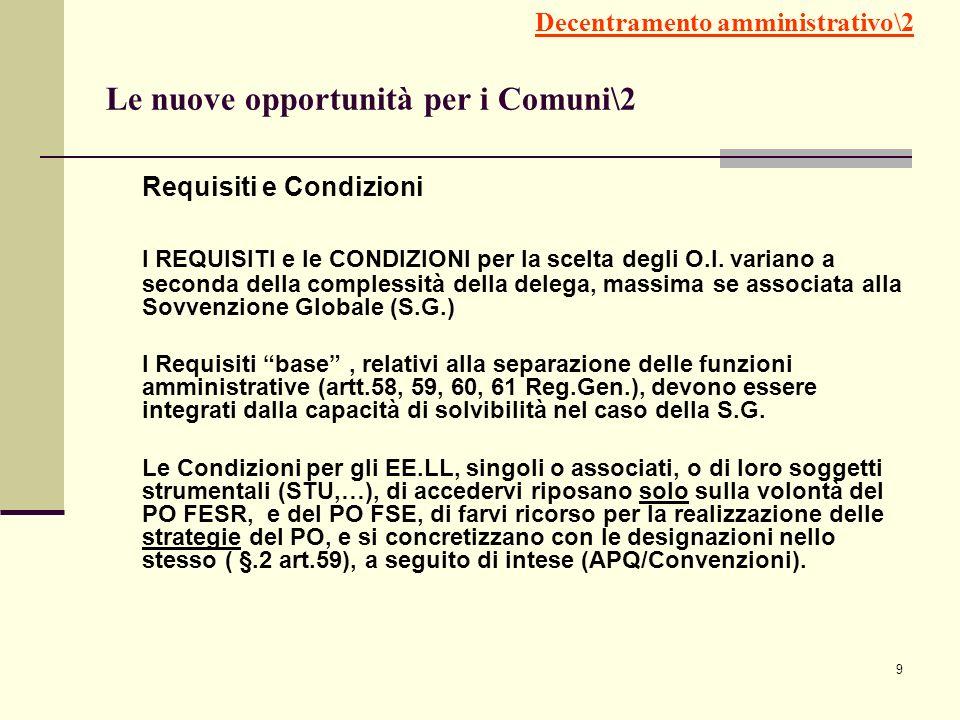 9 Requisiti e Condizioni I REQUISITI e le CONDIZIONI per la scelta degli O.I. variano a seconda della complessità della delega, massima se associata a