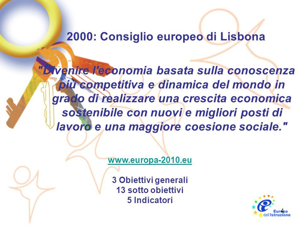 4 2000: Consiglio europeo di Lisbona Divenire l economia basata sulla conoscenza più competitiva e dinamica del mondo in grado di realizzare una crescita economica sostenibile con nuovi e migliori posti di lavoro e una maggiore coesione sociale. www.europa-2010.eu 3 Obiettivi generali 13 sotto obiettivi 5 Indicatori