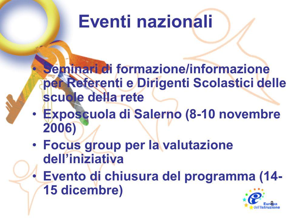 8 Eventi nazionali Seminari di formazione/informazione per Referenti e Dirigenti Scolastici delle scuole della rete Exposcuola di Salerno (8-10 novembre 2006) Focus group per la valutazione delliniziativa Evento di chiusura del programma (14- 15 dicembre)