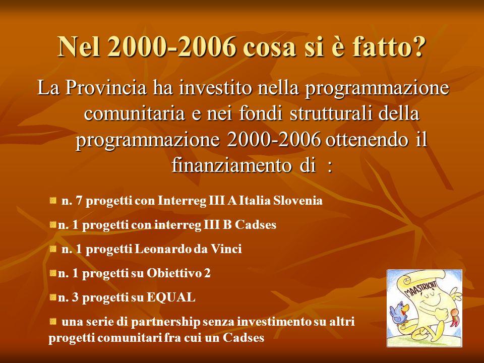 Nel 2000-2006 cosa si è fatto? La Provincia ha investito nella programmazione comunitaria e nei fondi strutturali della programmazione 2000-2006 otten