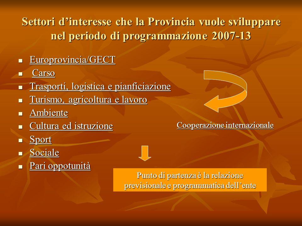 Settori dinteresse che la Provincia vuole sviluppare nel periodo di programmazione 2007-13 Europrovincia/GECT Europrovincia/GECT Carso Carso Trasporti