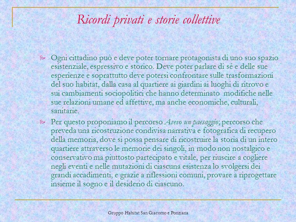 Gruppo Habitat San Giacomo e Ponziana Ricordi privati e storie collettive P Ogni cittadino può e deve poter tornare protagonista di uno suo spazio esistenziale, espressivo e storico.