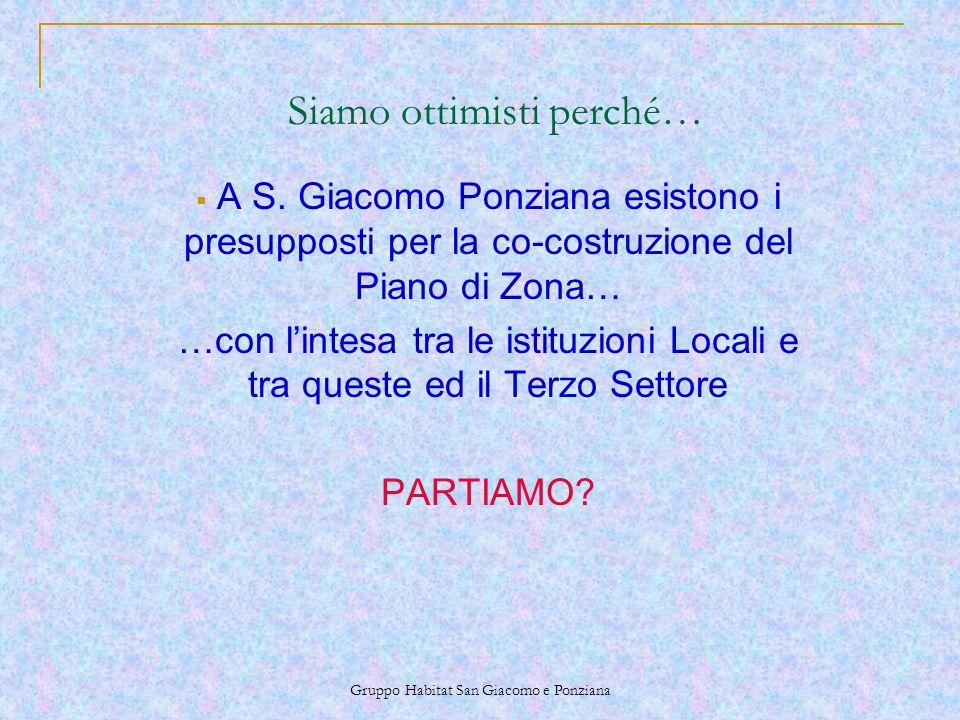 Gruppo Habitat San Giacomo e Ponziana Siamo ottimisti perché… A S.