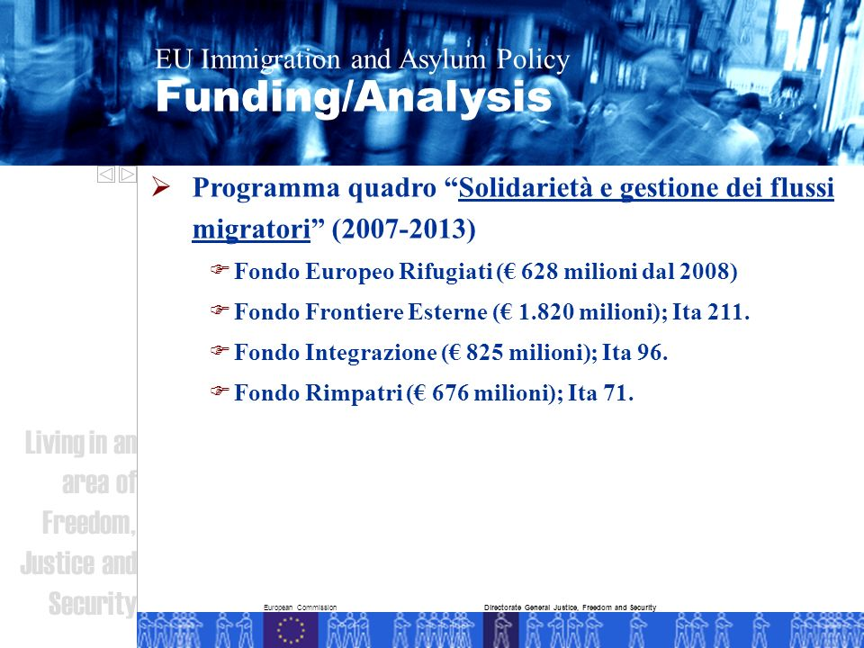 European Commission Funding/Analysis EU Immigration and Asylum Policy Living in an area of Freedom, Justice and Security Directorate General Justice,