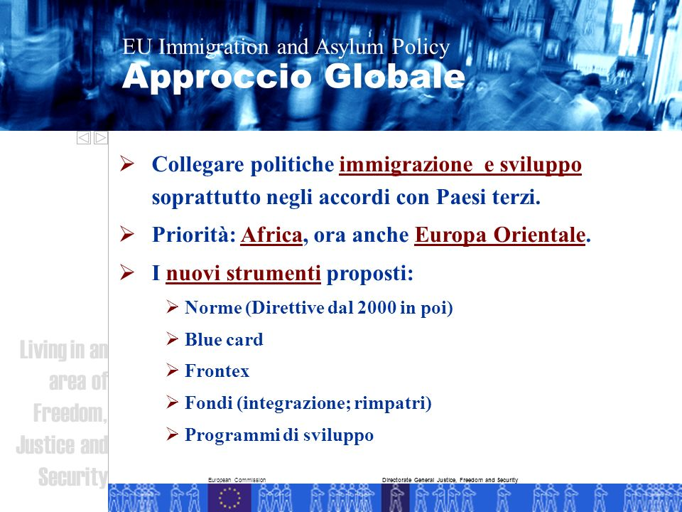 European Commission Approccio Globale EU Immigration and Asylum Policy Living in an area of Freedom, Justice and Security Directorate General Justice,