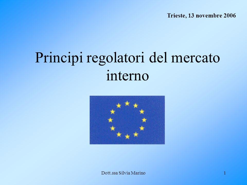 Dott.ssa Silvia Marino2 Nozione di mercato interno Il mercato interno comporta uno spazio senza frontiere interne, nel quale è assicurata le libera circolazione delle merci, delle persone, dei servizi e dei capitali secondo le disposizioni del presente Trattato (art.