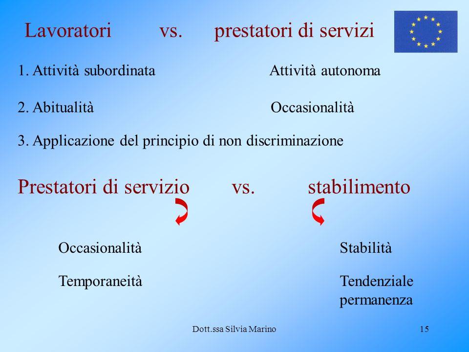 Dott.ssa Silvia Marino15 Lavoratori vs. prestatori di servizi 1.