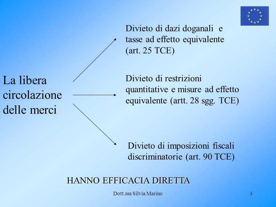 Dott.ssa Silvia Marino3 La libera circolazione delle merci Divieto di dazi doganali e tasse ad effetto equivalente (art.