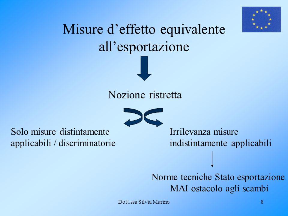 Dott.ssa Silvia Marino8 Misure deffetto equivalente allesportazione Nozione ristretta Solo misure distintamente applicabili / discriminatorie Irrilevanza misure indistintamente applicabili Norme tecniche Stato esportazione MAI ostacolo agli scambi