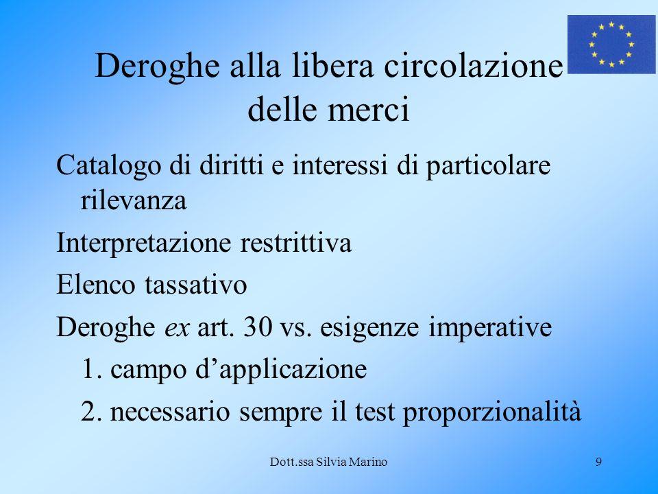 Dott.ssa Silvia Marino9 Deroghe alla libera circolazione delle merci Catalogo di diritti e interessi di particolare rilevanza Interpretazione restrittiva Elenco tassativo Deroghe ex art.