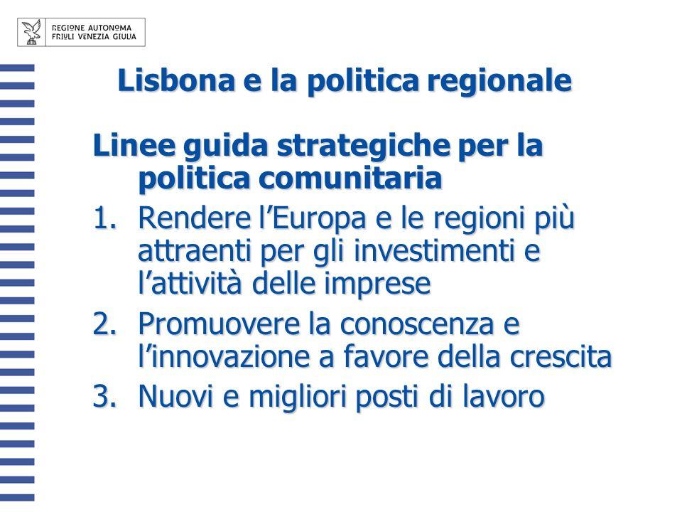 Lisbona e la politica regionale Linee guida strategiche per la politica comunitaria 1.Rendere lEuropa e le regioni più attraenti per gli investimenti e lattività delle imprese 2.Promuovere la conoscenza e linnovazione a favore della crescita 3.Nuovi e migliori posti di lavoro