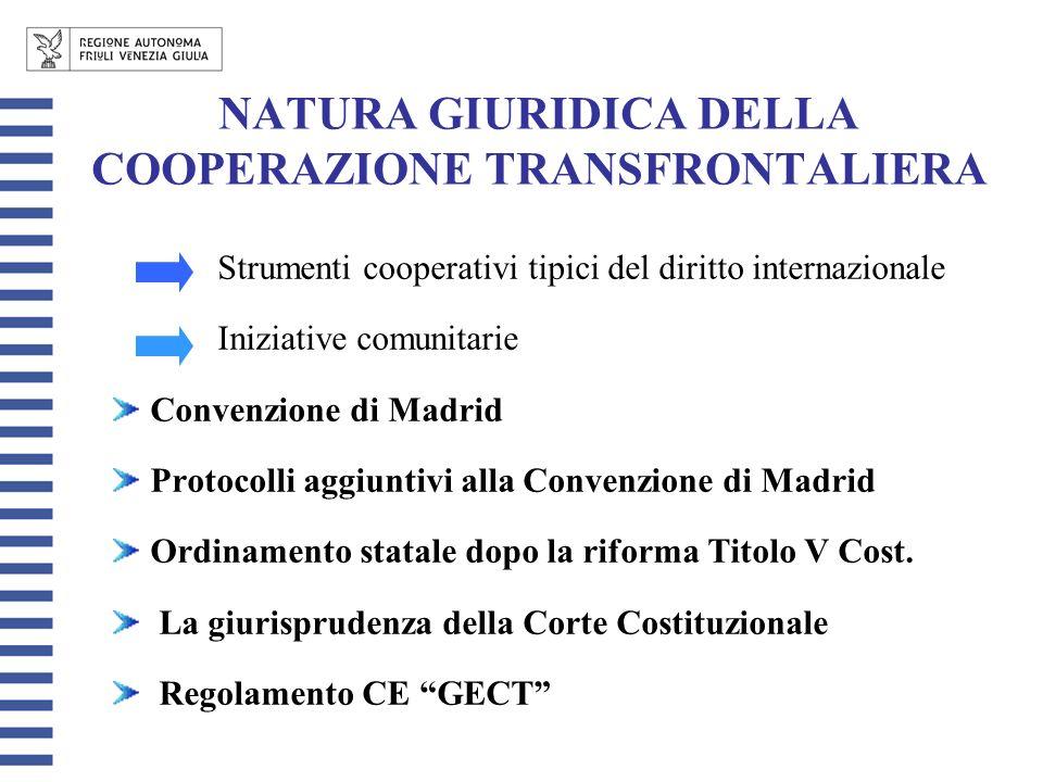 NATURA GIURIDICA DELLA COOPERAZIONE TRANSFRONTALIERA Strumenti cooperativi tipici del diritto internazionale Iniziative comunitarie Convenzione di Madrid Protocolli aggiuntivi alla Convenzione di Madrid Ordinamento statale dopo la riforma Titolo V Cost.