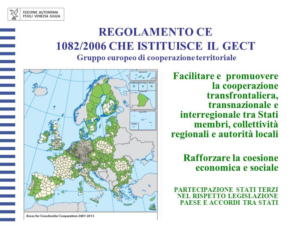 REGOLAMENTO CE 1082/2006 CHE ISTITUISCE IL GECT Gruppo europeo di cooperazione territoriale Facilitare e promuovere la cooperazione transfrontaliera, transnazionale e interregionale tra Stati membri, collettività regionali e autorità locali Rafforzare la coesione economica e sociale PARTECIPAZIONE STATI TERZI NEL RISPETTO LEGISLAZIONE PAESE E ACCORDI TRA STATI