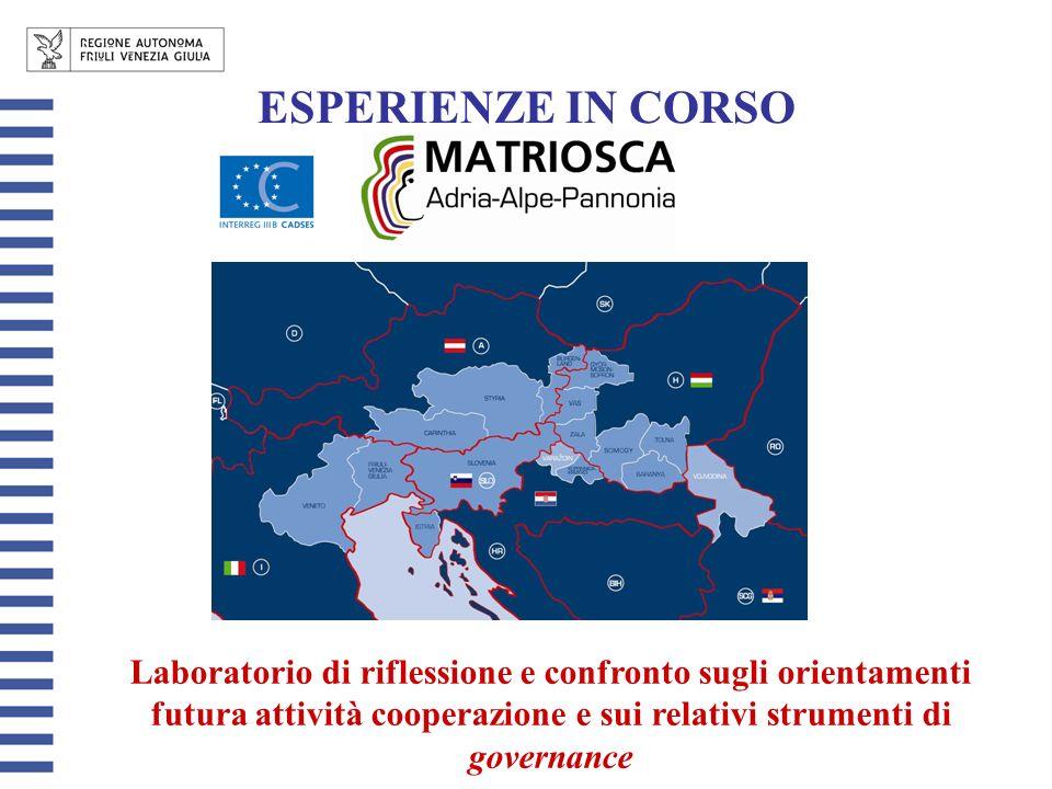 ESPERIENZE IN CORSO Laboratorio di riflessione e confronto sugli orientamenti futura attività cooperazione e sui relativi strumenti di governance