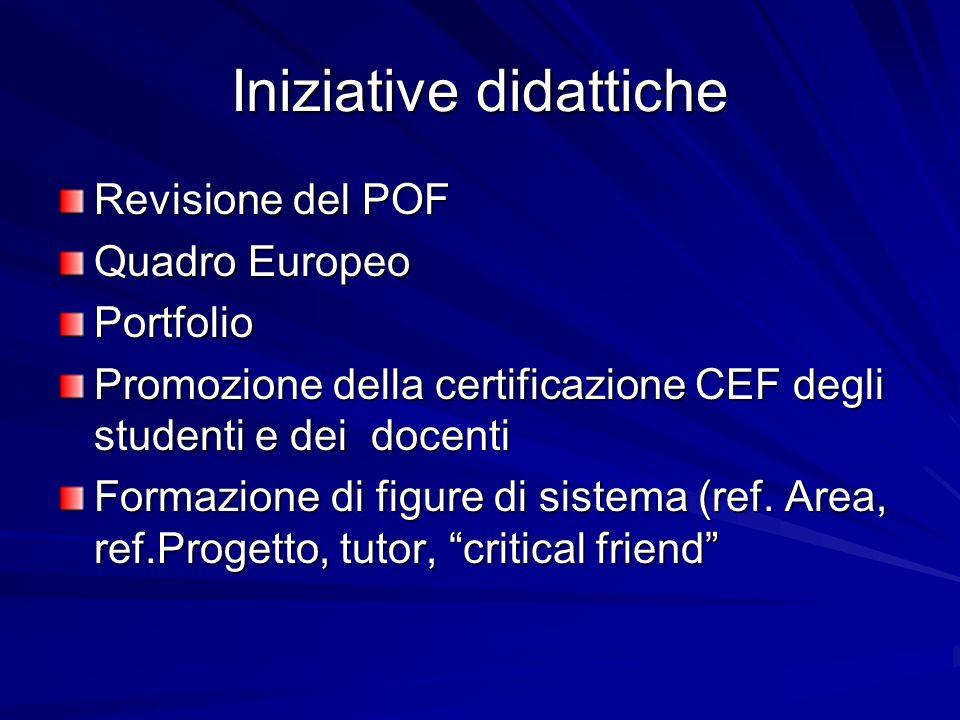 Iniziative didattiche Revisione del POF Quadro Europeo Portfolio Promozione della certificazione CEF degli studenti e dei docenti Formazione di figure di sistema (ref.