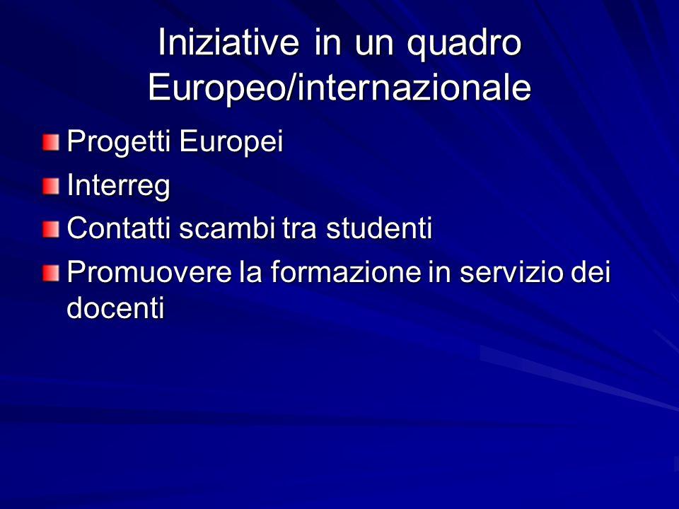 Iniziative in un quadro Europeo/internazionale Progetti Europei Interreg Contatti scambi tra studenti Promuovere la formazione in servizio dei docenti
