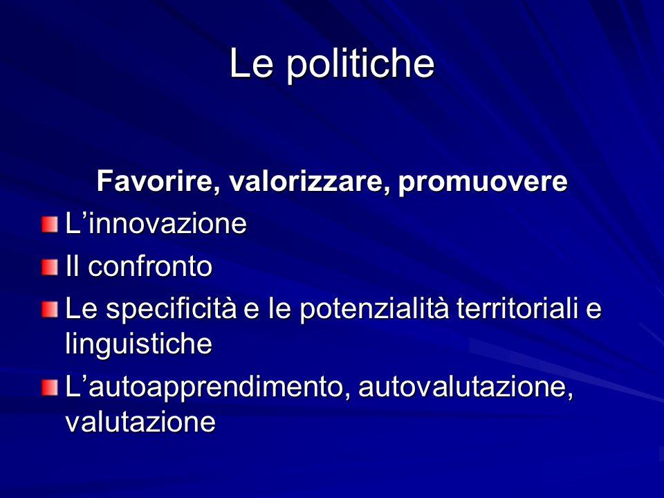 Le politiche Favorire, valorizzare, promuovere Linnovazione Il confronto Le specificità e le potenzialità territoriali e linguistiche Lautoapprendimento, autovalutazione, valutazione