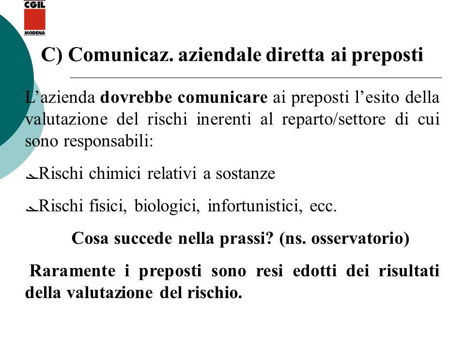 C) Comunicaz. aziendale diretta ai preposti Lazienda dovrebbe comunicare ai preposti lesito della valutazione del rischi inerenti al reparto/settore d