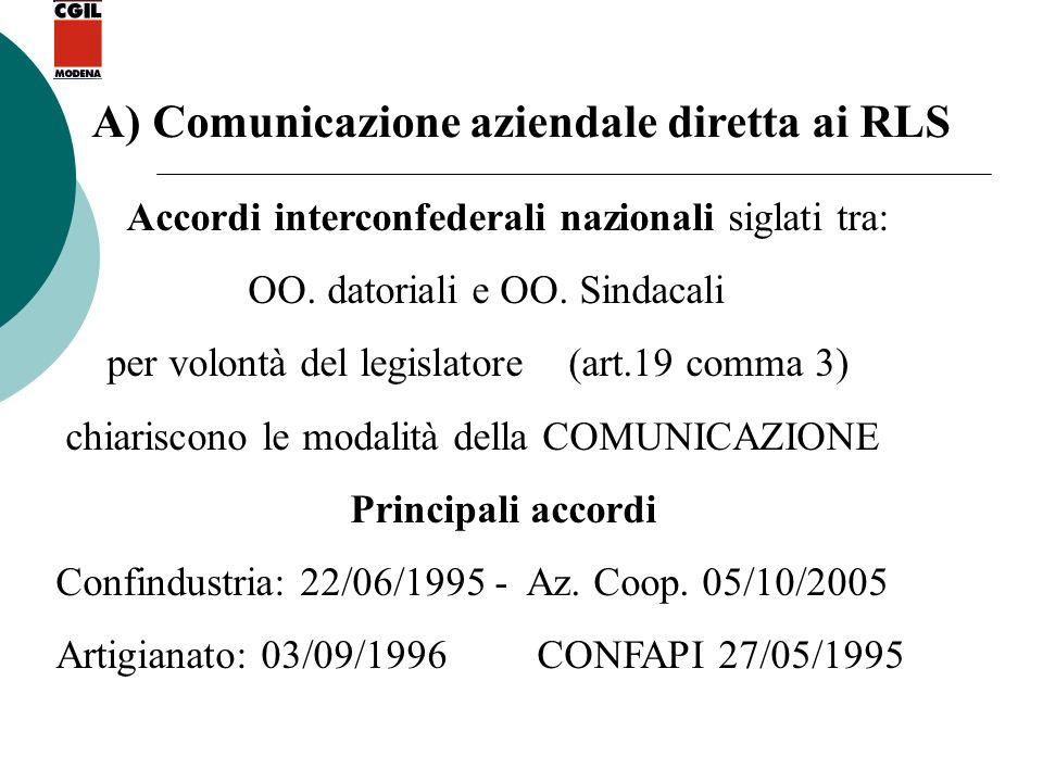 A) Comunicazione aziendale diretta ai RLS Accordi interconfederali nazionali siglati tra: OO. datoriali e OO. Sindacali per volontà del legislatore (a