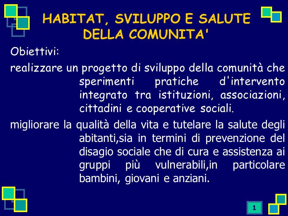 1 Obiettivi: realizzare un progetto di sviluppo della comunità che sperimenti pratiche d intervento integrato tra istituzioni, associazioni, cittadini e cooperative sociali.