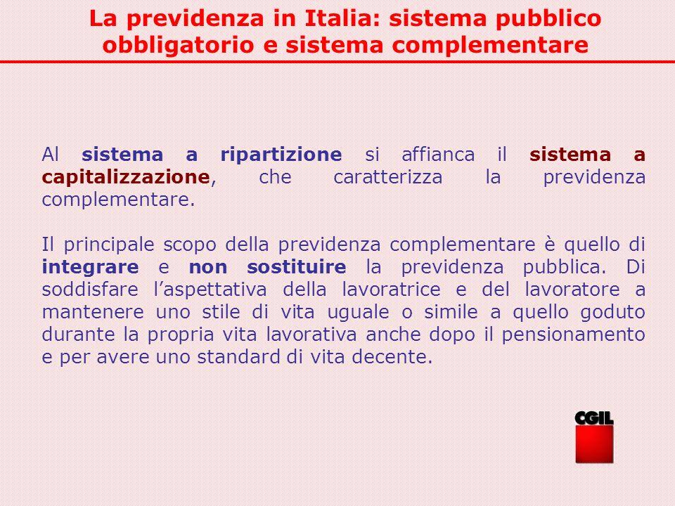La previdenza in Italia: sistema pubblico obbligatorio e sistema complementare Al sistema a ripartizione si affianca il sistema a capitalizzazione, ch