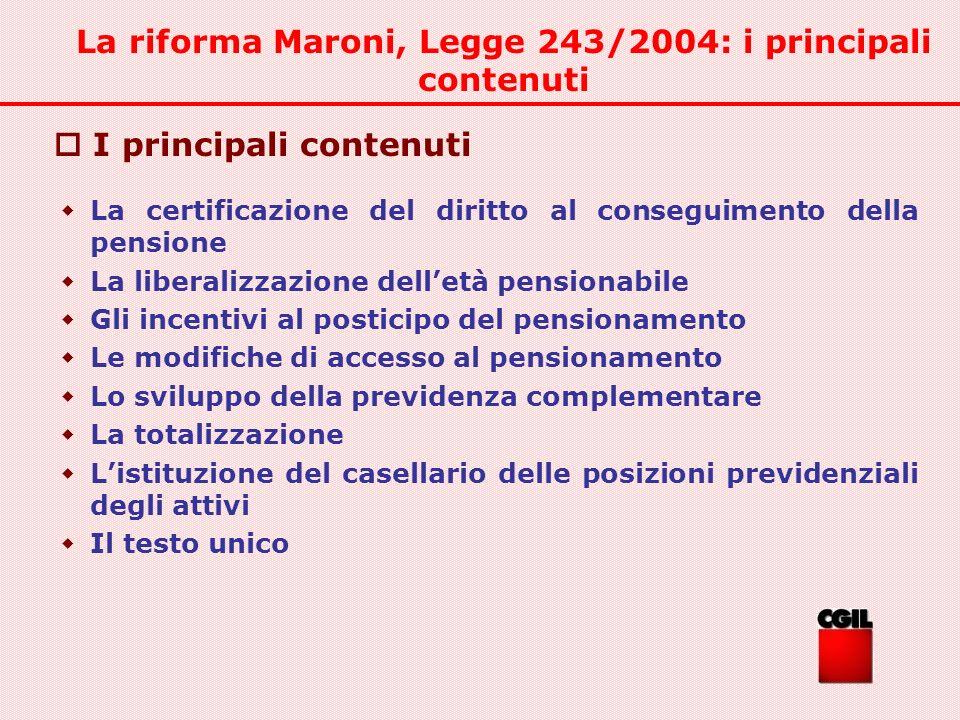 La riforma Maroni, Legge 243/2004: i principali contenuti La certificazione del diritto al conseguimento della pensione La liberalizzazione delletà pe
