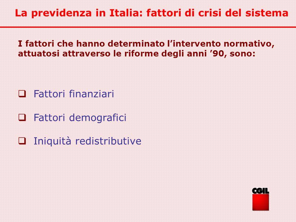 La previdenza in Italia: fattori di crisi del sistema I fattori che hanno determinato lintervento normativo, attuatosi attraverso le riforme degli ann