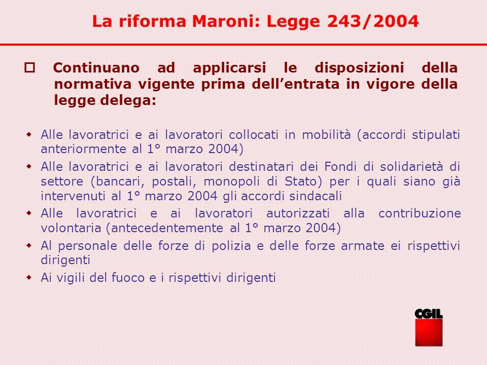La riforma Maroni: Legge 243/2004 Alle lavoratrici e ai lavoratori collocati in mobilità (accordi stipulati anteriormente al 1° marzo 2004) Alle lavor