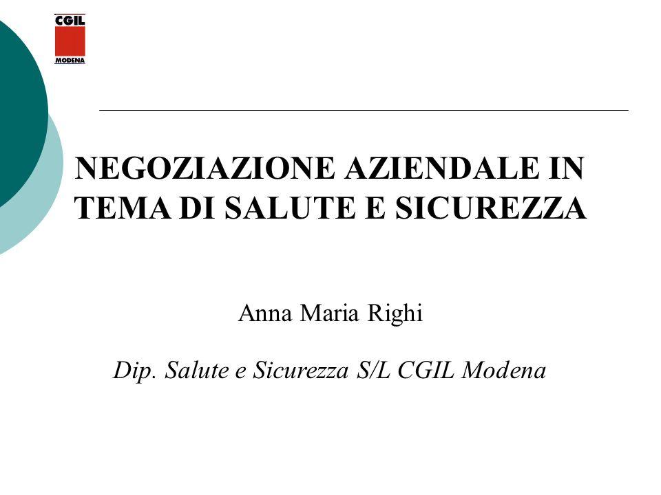 NEGOZIAZIONE AZIENDALE IN TEMA DI SALUTE E SICUREZZA Anna Maria Righi Dip. Salute e Sicurezza S/L CGIL Modena