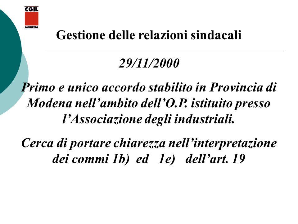 Gestione delle relazioni sindacali 29/11/2000 Primo e unico accordo stabilito in Provincia di Modena nellambito dellO.P. istituito presso lAssociazion
