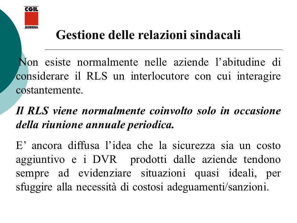 Gestione delle relazioni sindacali Non esiste normalmente nelle aziende labitudine di considerare il RLS un interlocutore con cui interagire costantem